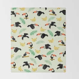 Toucan tropical pattern Throw Blanket