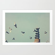 Flying Pigeons and Snakes Art Print