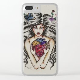 be still my beating heart anitomical love valentine tattoo brunette Clear iPhone Case