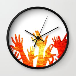 Hands Up Bright Wall Clock