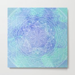 Blue Mandala Pattern Zen Painting Metal Print