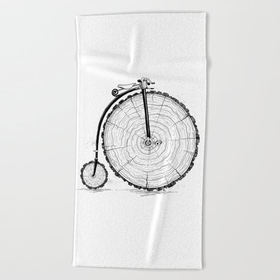 wooden bicycle Beach Towel