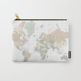"""World map with cities, """"Anouk"""" Carry-All Pouch"""