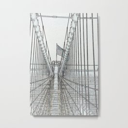 Brooklyn Bridge Cables Abstract Metal Print