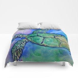 Sea Turtle Watercolor Painting Comforters