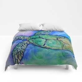 Sea Turtle Watercolor Painting Comforters