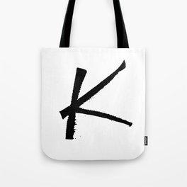 Letter K Ink Monogram Tote Bag
