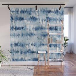 Modern hand painted dark blue tie dye batik watercolor Wall Mural