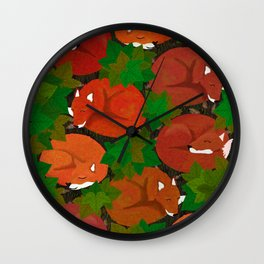 Sleepy foxes and Grapevine leaves Wall Clock