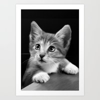 kitten Art Prints featuring Kitten by Julie Hoddinott