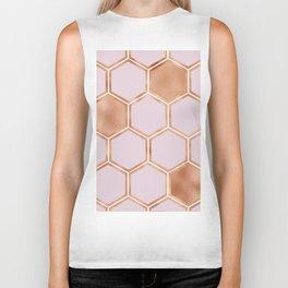 Copper sorbet geometric beehive Biker Tank