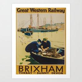 retro Brixham poster Art Print