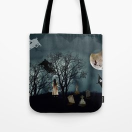 Haunted Forest Halloween Background Tote Bag