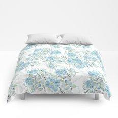 Blue flower garden watercolor Comforters