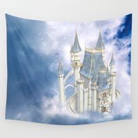fairytale Wall Tapestries featuring Fairytale Castle by Simone Gatterwe