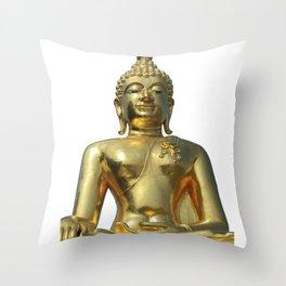 Golden Buddha Meditation Yoga Buddhism Spirital Statue Throw Pillow