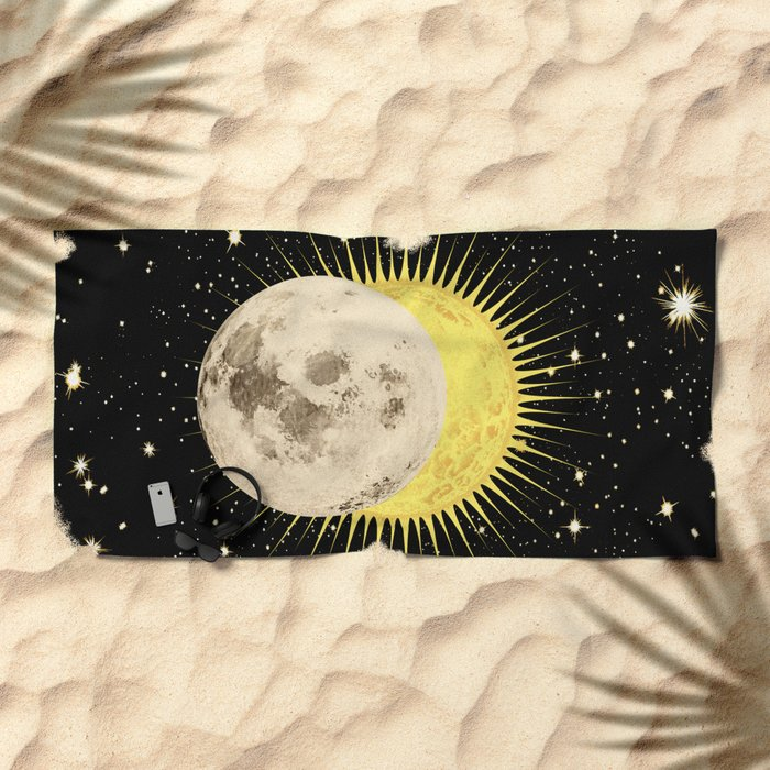 'Imminent Eclipse' Sun Moon & Stars Beach Towel