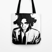 basquiat Tote Bags featuring BASQUIAT by KING
