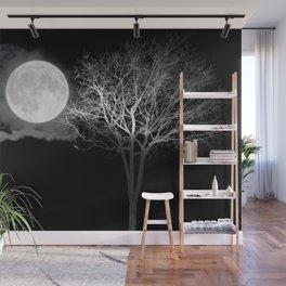 Full Moon Night Cloud Tree Wall Mural