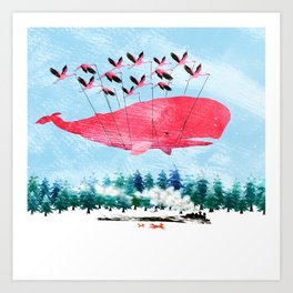 Flying Whale and steam train with Foxes Art Print