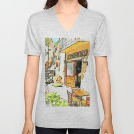 Tortora: glimpse with bar table and scooter Unisex V-Neck