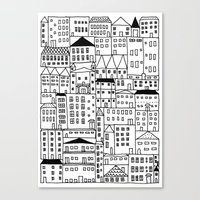 cityscape Canvas Prints featuring cityscape by Anna Grunduls
