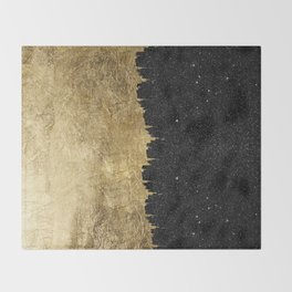 Faux Gold & Black Starry Night Brushstrokes Throw Blanket
