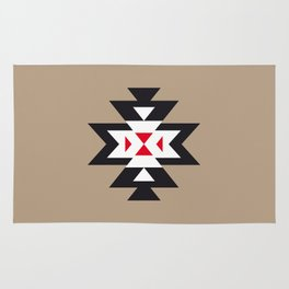 Navajo Aztec Pattern Black White Red on Light Brown Rug