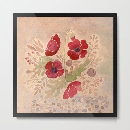 Watercolor poppies on old paper . Metal Print