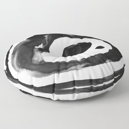 Round single cell nanquim black and white Floor Pillow