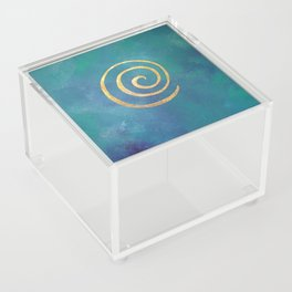 Infinity Bright Blue And Gold Abstract Modern Art Painting Acrylic Box