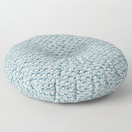 Fish Scales Geometric Pattern in Blue Green Floor Pillow