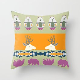 Colorful Christmas pattern with deer and bears Throw Pillow