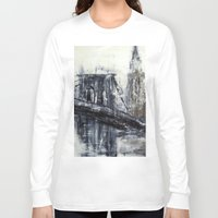 brooklyn bridge Long Sleeve T-shirts featuring Brooklyn Bridge  by Kasia Pawlak