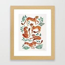 Cheetah Collection – Orange & Green Palette Framed Art Print