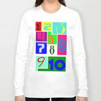 numbers Long Sleeve T-shirts featuring FUNNY NUMBERS by Vivian Fortunato