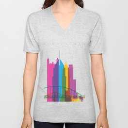 Shapes of Pittsburgh. Accurate to scale Unisex V-Neck