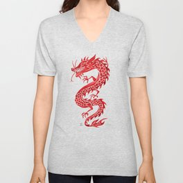 Chinese Dragon – Crimson Palette Unisex V-Neck