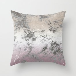 Pink and grey abstract pattern Throw Pillow