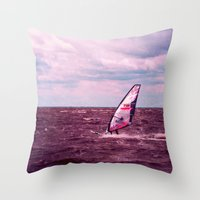 surfer Throw Pillows featuring surfer by Claudia Drossert