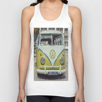lime green Tank Tops featuring Lime Green Camper Van Front by Cornish Creations