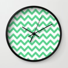 funky chevron mint pattern Wall Clock