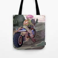 hyrule Tote Bags featuring Hyrule Road Warrior by evelmiina