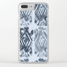 Simply Ikat Ink in Indigo Blue on Sky Blue Clear iPhone Case