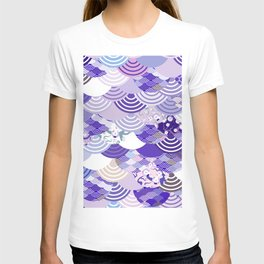 Nature background with japanese sakura flower, Cherry, wave circle. Ultra Violet Color of the Year T-shirt