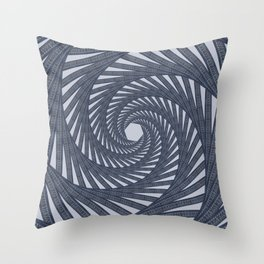 Geometric Denim Vortex Throw Pillow