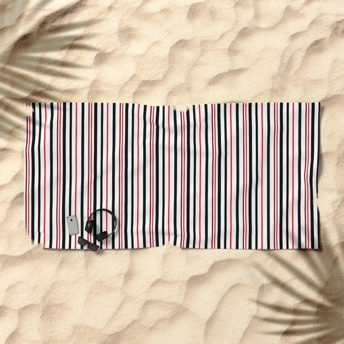 Red, black white striped pattern . Beach Towel