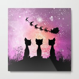 Cats looks in the sky to Santa Claus Metal Print