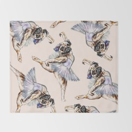 Pug Ballerina in Dog Ballet | Swan Lake  Throw Blanket