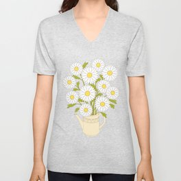 bouquet of camomiles in the vase on the black Unisex V-Neck